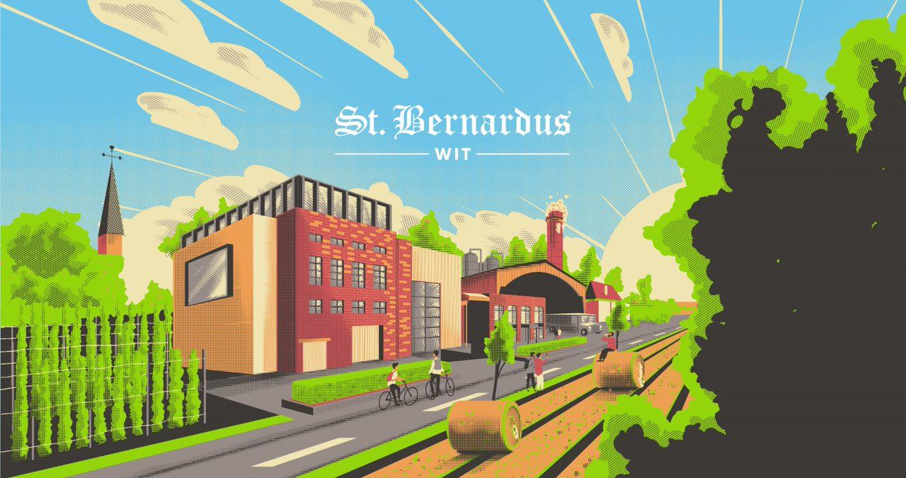 Arno Kiss illustratie op St. Bernardus wit in blik